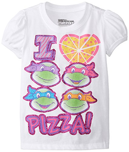 Ninja Turtle Girls (Teenage Mutant Ninja Turtles Little Girls' Toddler Pizza T-Shirt, White Heart, 3T)