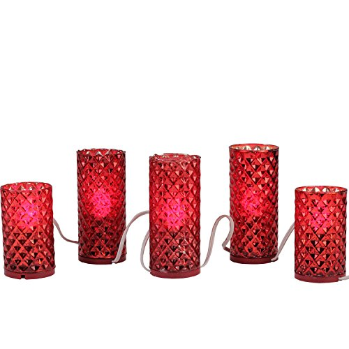 (Set of 5 Red Diamond Faceted Mercury Glass Flameless Pillar Candle Christmas Lights)