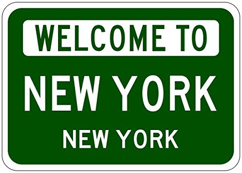 VinMea Metal Signs New York, New York - USA Welcome to Aluminum City Sign - 12 X 18 Inches]()