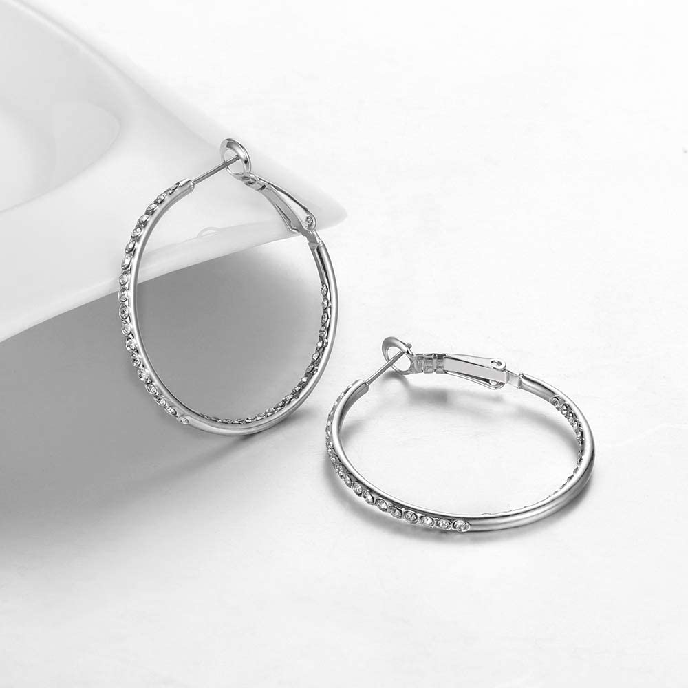 35MM CZ Silver Hoop Earrings for Women Girls Valentines Day Gift 14K Rose Gold Plated Hypoallergenic Lightweight Hoop Earrings Big Hoop Earrings Set SUPRAONE 1 Pairs Hoop Earrings for Women