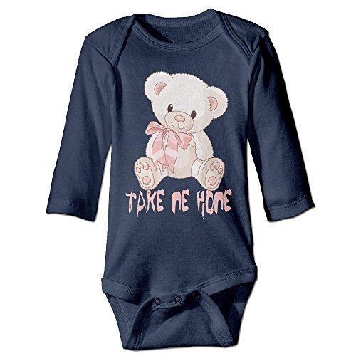 GMRLOVE Bear Take Me Home Long Sleeve Romper Bodysuit For 6-24 Months Boys & Girls 18 Months Navy
