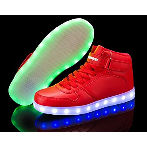 free shipping Shinmax Led Shoes, Hi-top Adult 7 Color USB Rechargeable  Light Up 16fff2fc3436