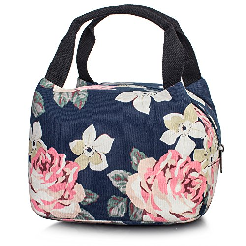 Leaper Reusable Insulated Lunch Bag Cute Lunch Box Tote Bag for Girls Dark Blue