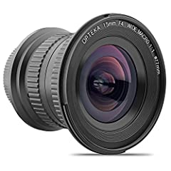 "The Opteka 15mm f/4 LD UNC AL 1:1 Wide Angle Macro manual lens is equipped with both a ultra wide angle of view and 1:1 macro ability. This allows photographers to start experiencing the unique undeveloped field of ""Wide Angle Macro Photograp..."