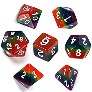 Polyhedral Dice Sets Role Playing Rainbow Dice for MTG D&D DND Gmaing Dice including Velvet Pouch