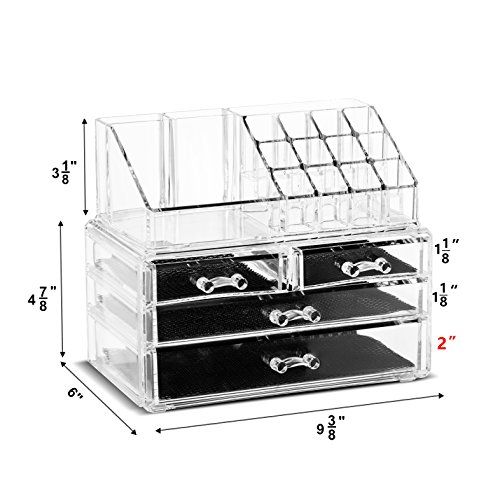 Unique Home Makeup Cosmetic Organizer Conceal/Lipstick/Eyeshadow/Brushes in One place Storage Drawers, Clear, Medium, 2 Piece Set by Unique Home