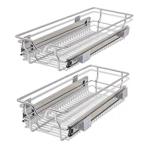 Festnight Pack of 2 Pull-Out Wire Storage Baskets Rack Sliding Steel Cabinet Slides Under Shelves Sliding Organizer for Kitchen Pantry Bathroom Cupboard (11.8