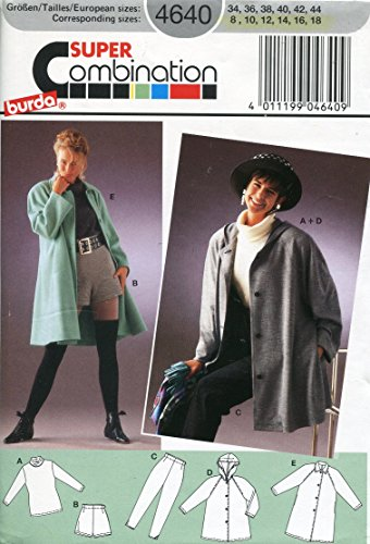 Burda Misses Jacket (Burda Pattern 4640 Misses' Top, Shorts, Pants and Jackets, Size 8-18)