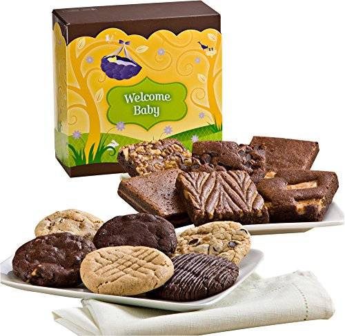 Fairytale Brownies Welcome Baby Cookie & Brownie Combo Gourmet Food Gift Basket Chocolate Box - 3 Inch Square Full-Size Brownies And 3.25 Inch Cookies - 12 Pieces