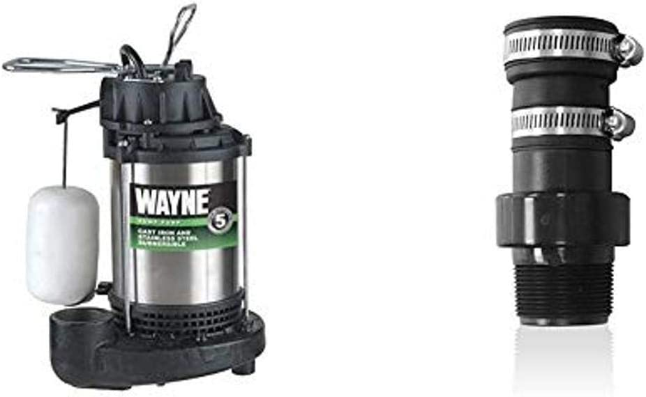 WAYNE CDU980E 3/4 HP Submersible Cast Iron and Stainless Steel Sump Pump With Integrated Vertical Float Switch & Pumps 66005-Wyn Check Valve, Pvc