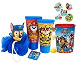 Paw Patrol ''Chase'' 6pc Bath Time Wash Buddy Gift Set! Bath Hook, Scrubby, Shampoo, Body Wash, Rinse Cup & ''Time To Get Out'' Bath Timer! Plus Bonus Paw Patrol Stocking Stuffer Holiday Stickers!