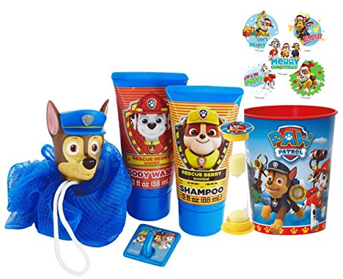 Paw Patrol ''Chase'' 6pc Bath Time Wash Buddy Gift Set! Bath Hook, Scrubby, Shampoo, Body Wash, Rinse Cup & ''Time To Get Out'' Bath Timer! Plus Bonus Paw Patrol Stocking Stuffer Holiday Stickers! by Nickelodeon