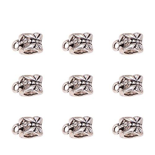Pandahall 20pcs Tibetan Silver Connectors Bails Beads Fit Charm European Bracelet Pendant