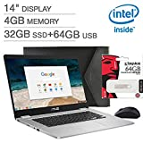Latest_ASUS Chromebook 14.0'' FHD Notebook,Intel Celeron N3350 Processor,4GB LPDDR4 RAM, 32GB SSD+ 64GB External Storage, Webcam,WiFi+ Bluetooth, Chiclet Keyboard, HDMI,Chrome OS, Bonus Mouse & Sleeve