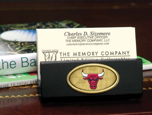 NBA Chicago Bulls Official Black Business Card Holder, Multicolor, One Size by The Memory Company