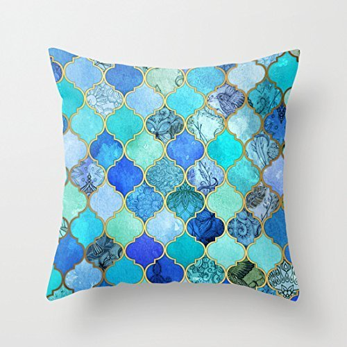 B Lyster shop G025J Cobalt Blue, Aqua, Gold Decorative Moroccan Tile Pillowcase Home Decoration pillow covers 18 X 18 zeroo 18 X 18 inch