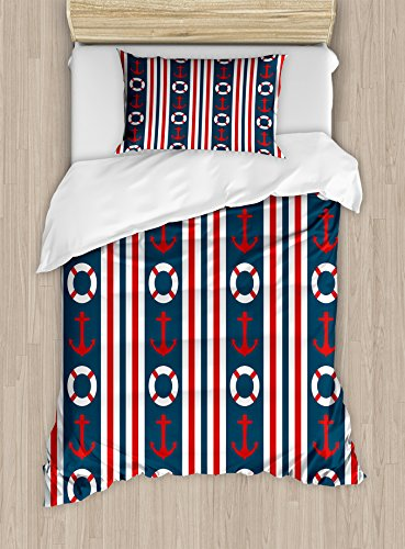 Ambesonne Nautical Duvet Cover Set Twin Size, Vertical Borders Stripes Maritime Theme Steering Wheel and Anchor Pattern, Decorative 2 Piece Bedding Set with 1 Pillow Sham, Indigo Red White