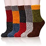 WENER Women's 5 pairs Super Soft Microfiber Fuzzy Winter Warm Slipper Home Socks (5 Pairs Colorful)