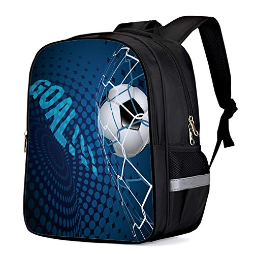 Water Resistant School Backpack, Football GOAL!!! Oxford 3D Print College Student Rucksack Daypack for School Camping Travel 41x30x17cm]()