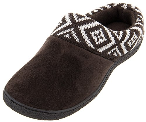Isotoner Dames Nordic Trim Slippers Chocolade