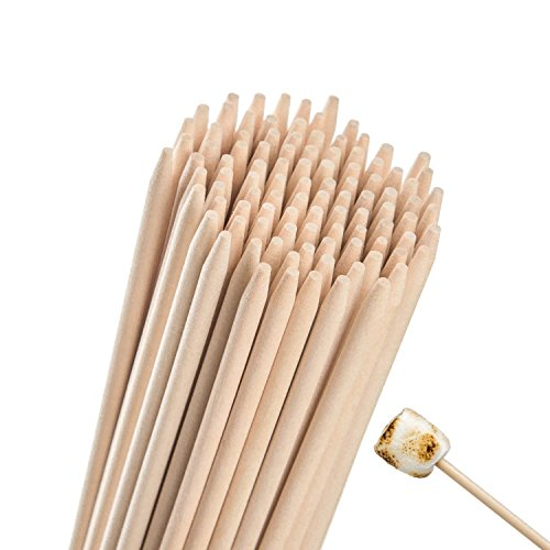 Natural Bamboo Marshmallow Roasting Sticks 110 Pieces 36 Inch 5mm Thick Extra Long Heavy Duty Wooden Hot Dog S'mores Bbq Skewers Shish Kabob Sausages Fire Pit Campfire 100% Eco Friendly - Bamboo Stick Natural Sword