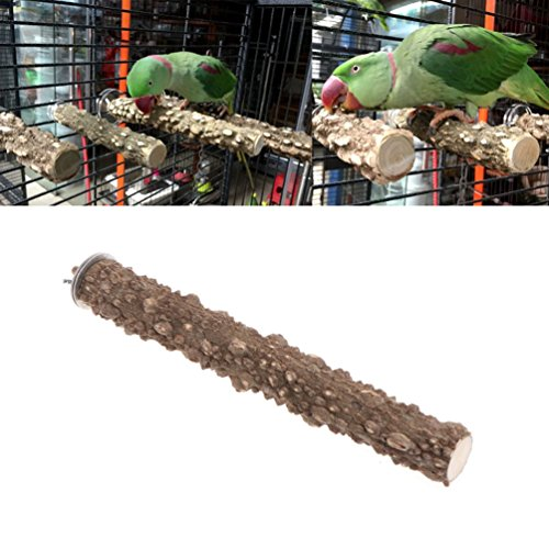 (Keersi Natrual Wood Perch Stand Toy for Bird Parrot Budgie Parakeet Cockatiel Conure Lovebird Finch Lovebird Macaw African Grey Cockatoo Cage Platform)