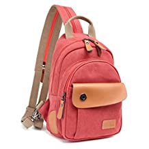 HSKree Canvas Rucksack Sling Bag Chest Bag Backpack For Men Women