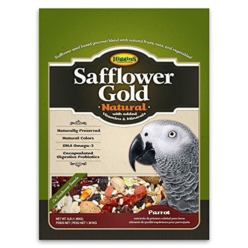 (Higgins Safflower Gold Natural Food Mix for Parrots, Cockatoos, Amazons & Macaws. Parrot food, Large Bird Food 3 lb Bag (Fast Delivery) by Just Jak's Pet Market)