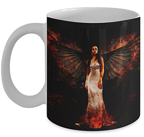 Halloween Mug \ Dark Angel Image \ Mugs With Quotes by Vitazi Kitchenware, 11 oz Ceramic Coffee Mug (White)