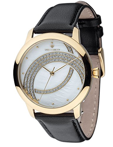 Yves Camani Arcenciel Women's Wrist Watch Quartz Analog Dial Mother Of Pearl Gold Plated Stainless Steel Casing & Black Leather Strap