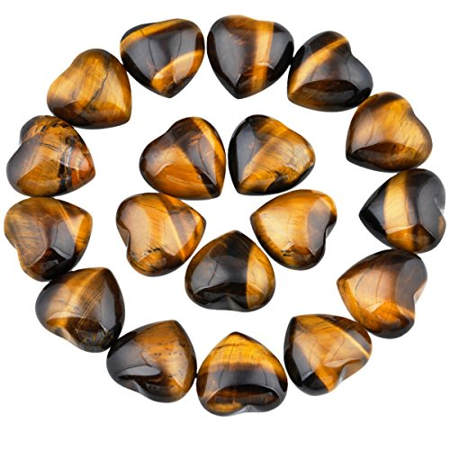 rockcloud Healing Crystal 0.5 inch Tiger's Eye Carved Worry Stone Chakra Reiki Balancing(Pack of 10)