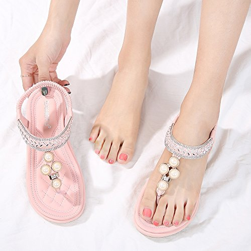 Flip Shoes Pink Flat Flop 06 Bohemian Sandals Rhinestone Meeshine Summer Womens qPpxwBYT8H