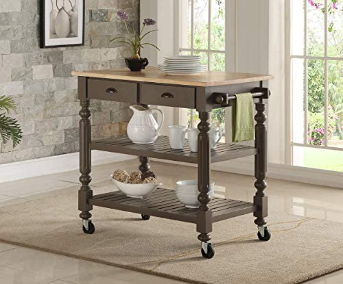 Bernards Natural Kitchen Cart