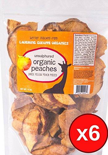Organic Dried Peach, 6 Pack of 8oz Bags