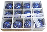 Festive Season Blue Swirl Shatterproof Christmas Ball Ornaments, Tree Decorations (Set of 12, 60mm)