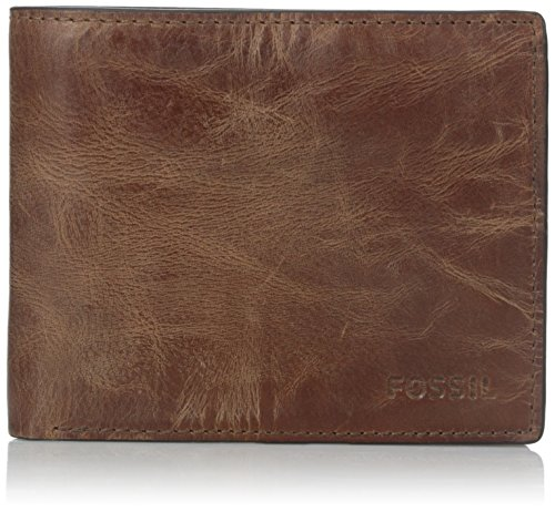 (Fossil Men's RFID Flip ID Bifold Wallet, Brown, One)