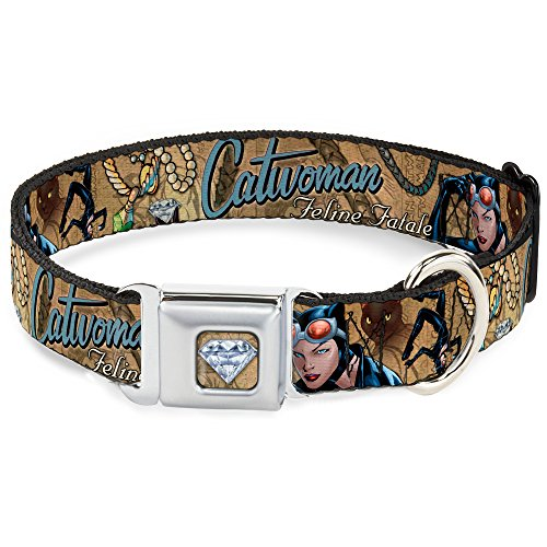 Dog Collar Seatbelt Buckle Catwoman Nine Lives of A Feline Fatale Pose2 Jewelry Cat Tans 16 to 23 Inches 1.5 Inch Wide (Catwoman Nine Lives Of A Feline Fatale)