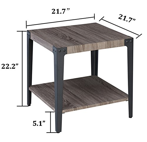 O&K Furniture Industrial Accent End Table with Storage Shelf, Metal Night Stand for Living Room and Bedroom, Gray(1-Pcs) by O&K Furniture (Image #5)