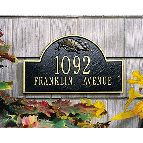 - Comfort House Metal Address Plaque - Arch Shape House Number Sign with Flag - Choose Your Color 68117
