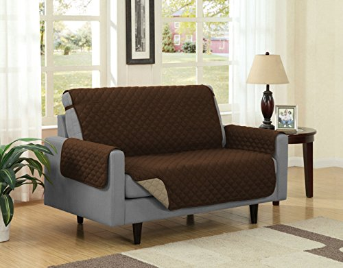 Linen Store Quilted Reversible Microfiber Pet Dog Couch Furniture Protector Cover (Loveseat, Brown / Mocha) - Brown Microfiber Seat