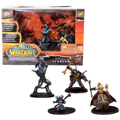 Blizzard Year 2008 World of Warcraft Miniatures Game Series Mini Figure Starter Set with Vindicator Hodoon (Draenai Paladin), Gorebelly (Orc Warrior), Ruby Gemsparkle (Gnome Mage) and Lotherin (Blood Elf Priest) Plus 4 Cards, 8 Action Bar, 6 Ten-Sided Dice, Map and Checklist ()