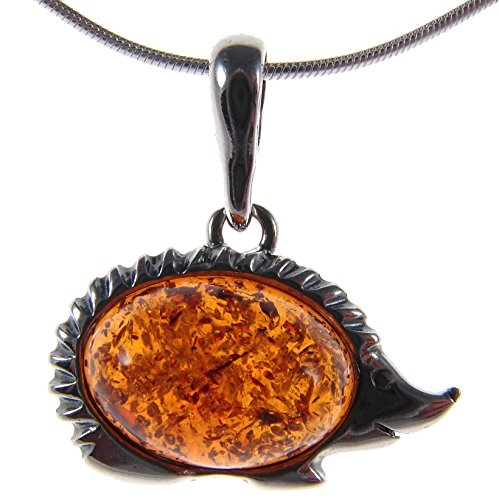 Designer Amber Jewelry - BALTIC AMBER AND STERLING SILVER 925 DESIGNER HEDGEHOG ANIMAL PENDANT JEWELLERY JEWELRY (NO CHAIN)