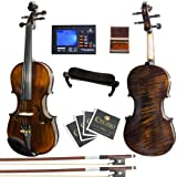Mendini MV500+92D Flamed 1-Piece Back Solid Wood Violin with Case, Tuner, Shoulder Rest, Bow, Rosin, Bridge and Strings (Size