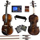 Mendini MV500+92D Flamed 1-Piece Back Solid Wood Violin with Case, Tuner, Shoulder Rest, Bow, Rosin, Bridge and Strings - Size 4/4, (Full Size)