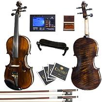 Mendini 1/2 MV500 Flamed 1-Piece Back Solid Wood Violin with Case, Tuner, Shoulder Rest, Bow, Rosin, Bridge and Strings