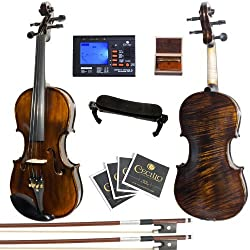 Mendini 44 Mv500+92d Flamed 1-piece Back Solid Wood Violin With Case, Tuner, Shoulder Rest, Bow, Rosin, Bridge & Strings - Full Size