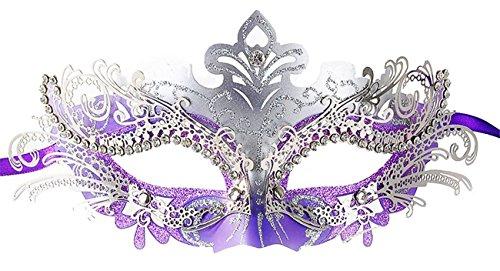 [Masquerade Mask Shiny Metal Rhinestone Venetian Pretty Party Evening Prom Mask] (White Mardi Gras Mask)