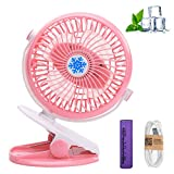 Clip Fan, Clip On Desk Fan, Portable Mini Fan, Personal Table Fan, Quiet Electric Fan, Rechargeable Air, Cooler Stepless Speed Two Way Rotated 360 Degree for Baby Stroller, Office Room, Home (Pink)