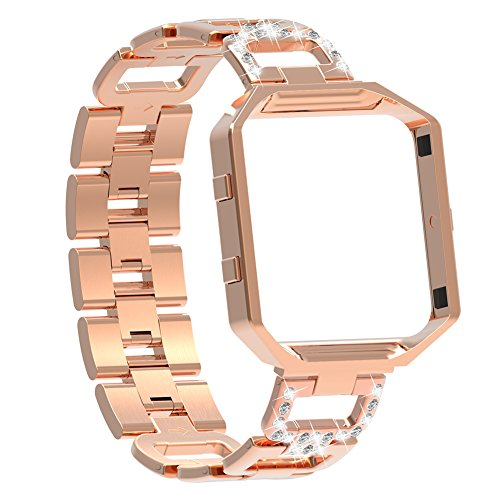 For Fitbit Blaze Bands for Women,Austrake Replacement Stainless Steel Strap / Wristband with Metal Frame for Fitbit Blaze Smart Fitness Watch Rose Gold