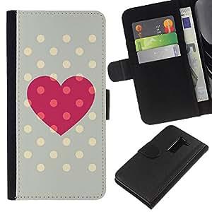 All Phone Most Case / Oferta Especial Cáscara Funda de cuero Monedero Cubierta de proteccion Caso / Wallet Case for LG G2 D800 // Polka Dot Grey Pink Love Centers